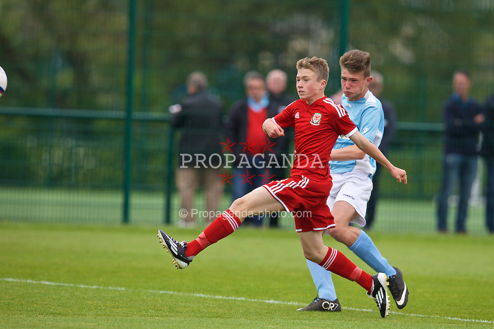 NEWPORT, WALES - Wednesday, May 27, 2015: South WPL Academy Boys' Declan Rowlands scores the first goal during the Welsh Football Trust Cymru Cup 2015 at Dragon Park. (Pic by David Rawcliffe/Propaganda)