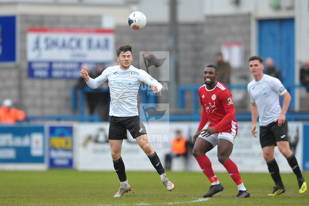 TELFORD COPYRIGHT MIKE SHERIDAN Arlen Birch of Telford heads clear during the Vanarama Conference North fixture between AFC Telford United and Brackley Town at the New Bucks Head on Saturday, January 4, 2020.<br /> <br /> Picture credit: Mike Sheridan/Ultrapress<br /> <br /> MS201920-039