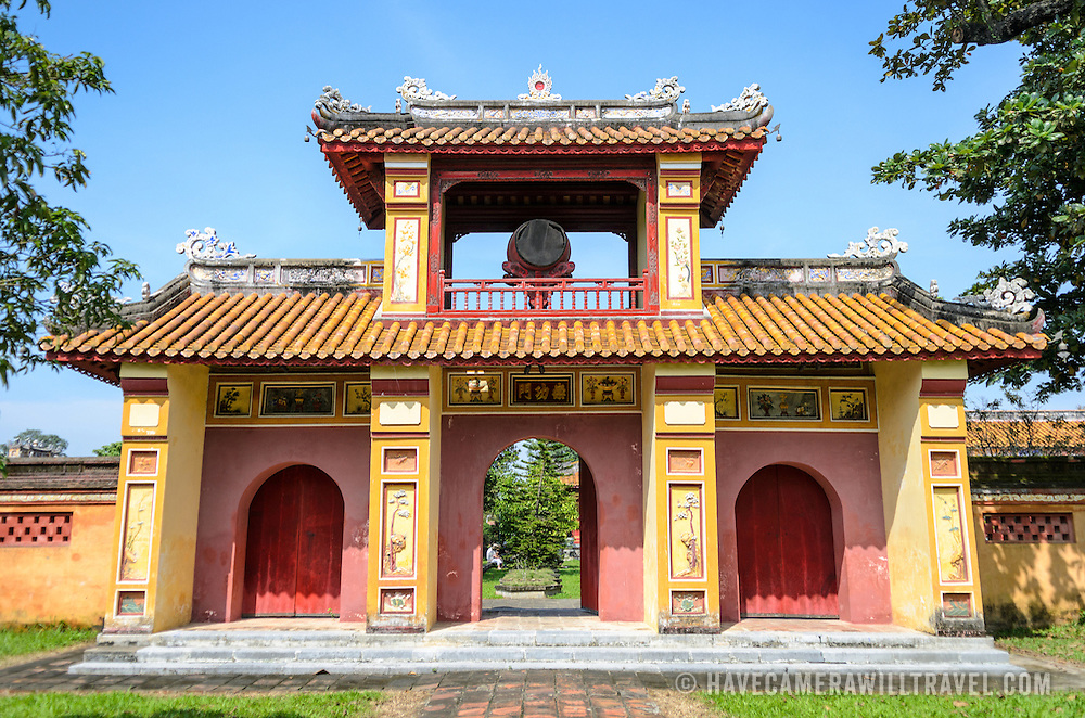 at the Imperial City in Hue, Vietnam. A self-enclosed and fortified palace, the complex includes the Purple Forbidden City, which was the inner sanctum of the imperial household, as well as temples, courtyards, gardens, and other buildings. Much of the Imperial City was damaged or destroyed during the Vietnam War. It is now designated as a UNESCO World Heritage site. This building was part of the Dien Tho Residence. Constructed in 1804, this compound was was the Queen Mother's or Emperor's Grandmother's living quarters.