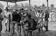 Panama Canal: Paying West Indian labourers on their arrival at Tabemilla during the de Lesseps attempt to dig the Panama Canal. Wood engraving 1888.