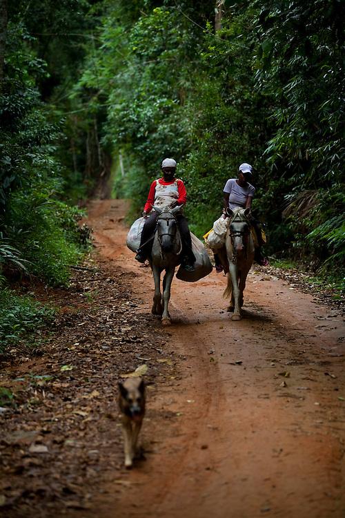 Conceicao do Castelo_ES, Brasil...Mae e filha montadas em burros em trecho da Rota Imperial...A mother and daughter riding a donkey on the Imperial Route...Foto: LEO DRUMOND / NITRO