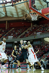 18 February 2012:  Kyle Sikora and Jackie Carmichael scrap for position during an ESPN Bracketbuster mens basketball game Where the Oakland Golden Grizzlies lost to the Illinois State Redbirds 79-75 in Redbird Arena, Normal IL