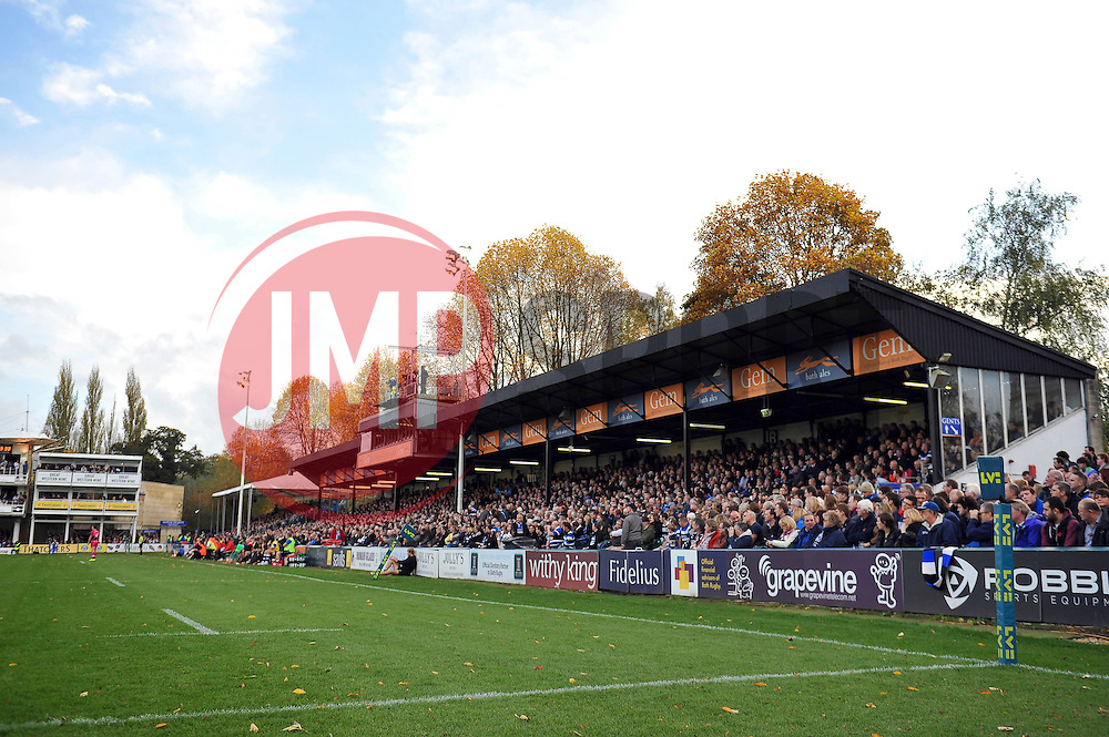 A general view of the West stand at the Recreation Ground - Photo mandatory by-line: Patrick Khachfe/JMP - Mobile: 07966 386802 01/11/2014 - SPORT - RUGBY UNION - Bath - The Recreation Ground - Bath Rugby v London Welsh - LV= Cup