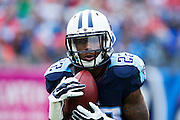 NASHVILLE, TN - OCTOBER 25:  Dexter McCluster #22 of the Tennessee Titans fields a punt during a game against the Atlanta Falcons at Nissan Stadium on October 25, 2015 in Nashville, Tennessee.  The Falcons defeated the Titans 10-7.  (Photo by Wesley Hitt/Getty Images) *** Local Caption *** Dexter McCluster