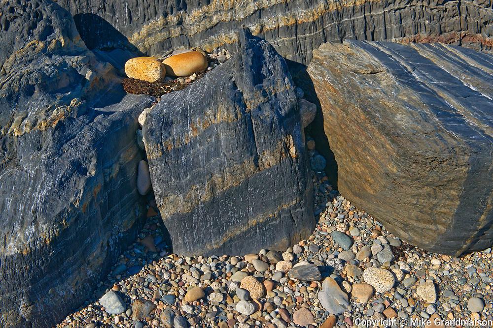 Rocks along the shoreline of the Atlantic Ocean, Blue Rocks, Nova Scotia, Canada