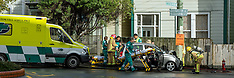 Wellington-Two injured in lamp post collision