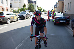 Leah Thorvilson (USA) of CANYON//SRAM Racing shows her delight upon learning about her teammate's win on Stage 1 of the Lotto Thuringen Ladies Tour - a 124.8 km road race, starting and finishing in Schleiz on July 13, 2017, in Thuringen, Germany. (Photo by Balint Hamvas/Velofocus.com)