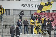 FODBOLD: En lille gruppe AC Horsens fans før kampen i ALKA Superligaen mellem FC Helsingør og AC Horsens den 18. februar 2018 på Right to Dream Park i Farum. Foto: Claus Birch.