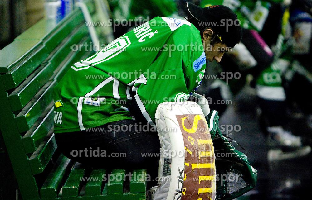 Matija Pintaric of Olimpija during 52nd Round of EBEL league ice-hockey match between HDD Tilia Olimpija, Ljubljana and EV Vienna Capitals, on February 7, 2010 in Arena Tivoli, Ljubljana, Slovenia. Vienna defeated Olimpija 8-2. (Photo by Vid Ponikvar / Sportida)