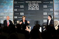 Ronald M. Shaich, Founder, Chairman and CEO, of Panera Bread Company, and Denise M. Morrison, President and CEO of Campbell Soup Company, in a panel discussion with Matt Murray, Deputy Editor in Chief of The Wall Street Journal, at the The Wall Street Journal 2016 GLOBAL FOOD FORUM in New York City on October 6, 2016. (photo by Gabe Palacio)