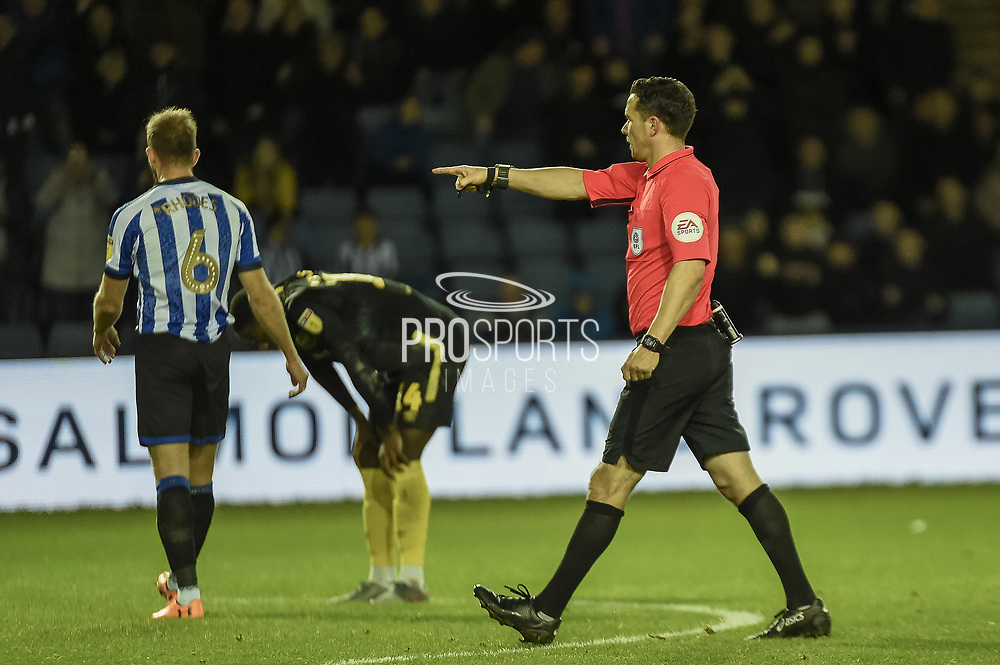 Referee Dean Whitestone awards a penalty to Sheffield Wednesday during the EFL Sky Bet Championship match between Sheffield Wednesday and Brentford at Hillsborough, Sheffield, England on 7 December 2019.
