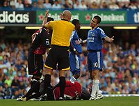 Photo: Tony Oudot.<br /> Chelsea v Blackburn Rovers. The FA Barclays Premiership. 15/09/2007.<br /> Joe Cole of Chelsea protests his innocence after fouling Christopher Samba of Blackburn