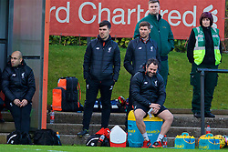 KIRKBY, ENGLAND - Friday, March 31, 2017: Liverpool's academy coach Steven Gerrard looks on as the Under-18's take West Ham United during an Under-18 FA Premier League Merit Group A match at the Kirkby Academy. (Pic by David Rawcliffe/Propaganda)