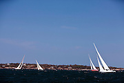 Columbia, American Eagle, Gleam, and Northern Light sailing in the Museum of Yachting Classic Yacht Regatta.