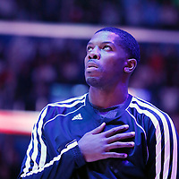 16 November 2013: Brooklyn Nets shooting guard Joe Johnson (7) is seen during the national anthem prior to the Los Angeles Clippers 110-103 victory over the Brooklyn Nets at the Staples Center, Los Angeles, California, USA.