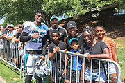 Carolina Panthers safety, Rashaan Gaulden (28) poses with fans during training camp at Wofford College, Saturday, July 27, 2019, in Spartanburg, S.C. (Brian Villanueva/Image of Sport)