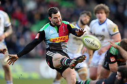 Karl Dickson of Harlequins box-kicks the ball - Photo mandatory by-line: Patrick Khachfe/JMP - Mobile: 07966 386802 31/01/2015 - SPORT - RUGBY UNION - London - The Twickenham Stoop - Harlequins v Bath Rugby - LV= Cup