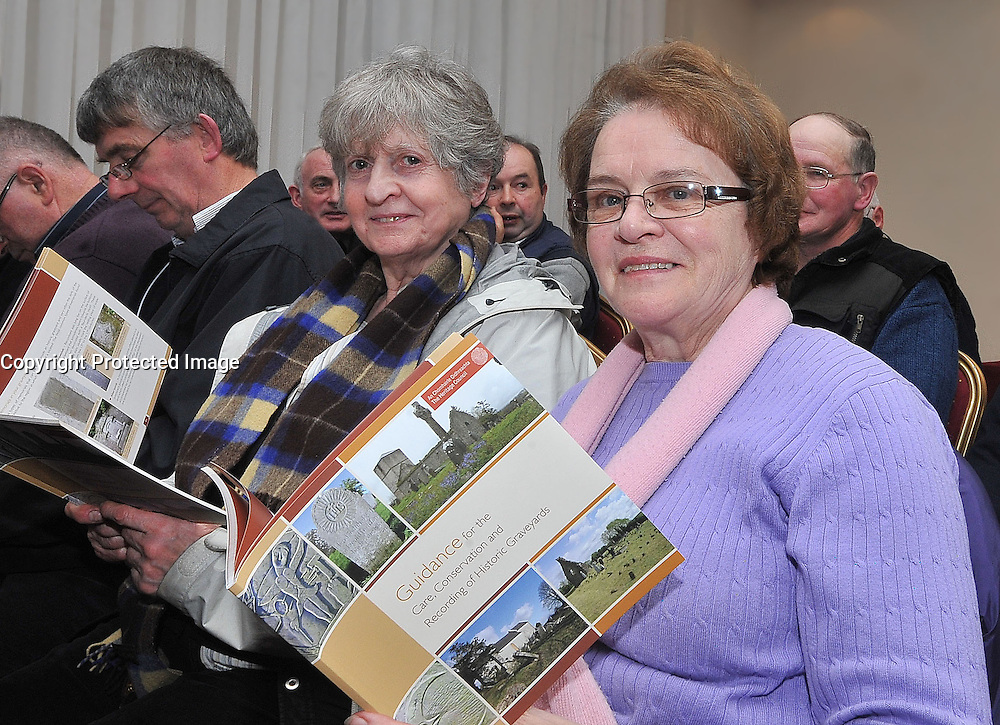 Mayo County Council's Heritage office recently held a seminar on the Care & Conservation of Historic Graveyards pictured at the seminar were Eilish Walsh and Rosaleen Horkan from Swinford.<br /> Pic Conor McKeown