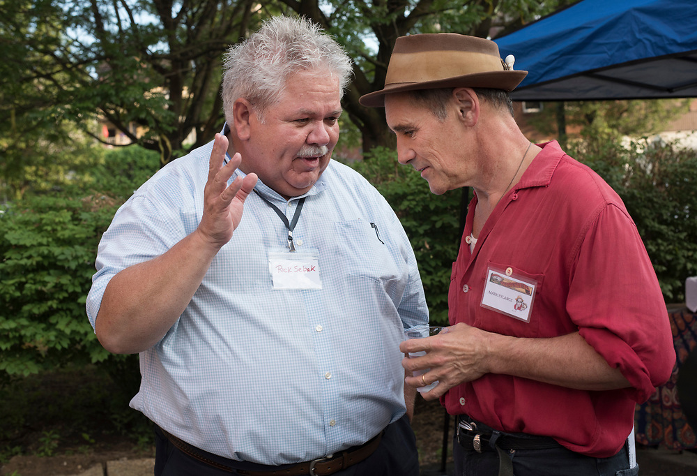 Rick Sebak (L) with actor Mark Rylance at Meet & Greet and Commemorate with Mark Rylance for the Battle of Homestead Foundation.