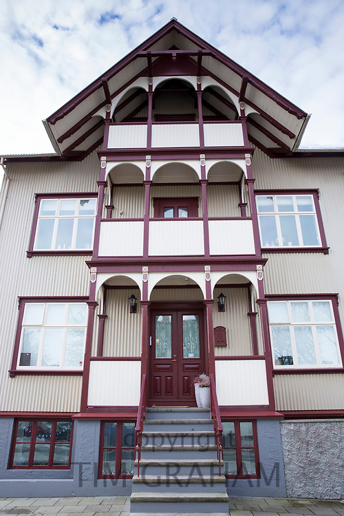 Traditional typical painted house on corner of Barugata and Styrimannastigur in the old town area of capital city Reykjavik, Iceland