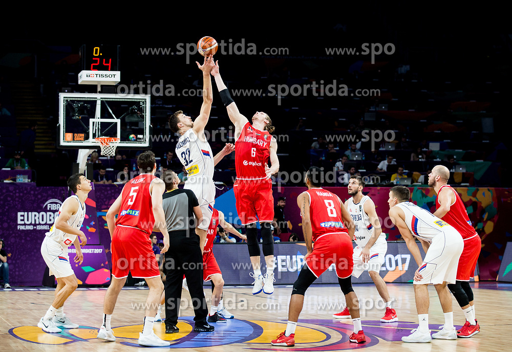 Ognjen Kuzmic of Serbia vs Akos Keller of Hungary during basketball match between National Teams of Serbia and Hungary at Day 11 in Round of 16 of the FIBA EuroBasket 2017 at Sinan Erdem Dome in Istanbul, Turkey on September 10, 2017. Photo by Vid Ponikvar / Sportida
