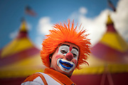 "Jahirt Bermudez, of Colombia, South America, who performs as Perolito the clown for the Cole Bros. Circus, before a show during a stop in Frederick Maryland. The Cole Bros. Circus of the Stars is celebrating its 127th season and bills itself as the ""World's Largest Circus Under The Big Top."""