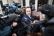 FRANCE, Boulogne: 14 January 2016.<br /> Ex-serviceman Rob Lawrie, 49, arrives at the court house Place de la R&eacute;sistance in Boulogne this afternoon. Aid-worker Lawrie was caught by French officers attempting to smuggle a four-year-old Afghan girl into the UK as he was trying to reunite her with her father in Leeds. <br /> Rick Findler / Story Picture Agency