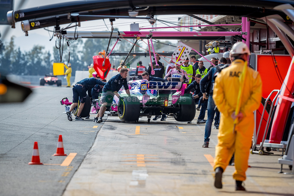 February 19, 2019 - Montmelo, Barcelona, Catalonia, Spain - Barcelona-Catalunya Circuit, Montmelo, Catalonia, Spain - 19/02/2018: Lance Stroll of SportPesa Racing Point F1 Team car is pushed by his teammates during second journey of F1 Test Days in Montmelo circuit. (Credit Image: © Javier Martinez De La Puente/SOPA Images via ZUMA Wire)
