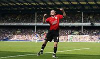 Photo: Paul Thomas.<br /> Everton v Manchester United. The Barclays Premiership. 28/04/2007.<br /> <br /> Wayne Ronney celebrates Utd's third goal.