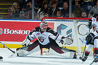 KELOWNA, CANADA - NOVEMBER 10: Todd Scott #1 of the Vancouver Giants makes a save against the Kelowna Rockets on November 10, 2017 at Prospera Place in Kelowna, British Columbia, Canada.  (Photo by Marissa Baecker/Shoot the Breeze)  *** Local Caption ***