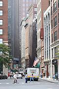 Street scene from State Street in central Boston, Massachusetts.