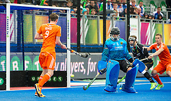 Germany's Nicolas Jacobi cannot stop the shot from Billy Bakker for The Netherlands to take the lead. The Netherlands v Germany - Final Unibet EuroHockey Championships, Lee Valley Hockey & Tennis Centre, London, UK on 29 August 2015. Photo: Simon Parker