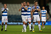 QPR defender Angel Rangel (22) and QPR defender Jake Bidwell (3) applaud the crowd after the EFL Sky Bet Championship match between Queens Park Rangers and Millwall at the Loftus Road Stadium, London, England on 19 September 2018.