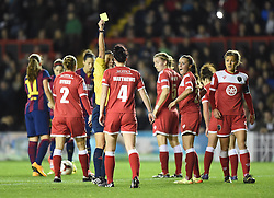 Bristol Academy Womens' Jasmine Matthews receives a yellow card from referee Anastasia Pustovoitova - Photo mandatory by-line: Paul Knight/JMP - Mobile: 07966 386802 - 13/11/2014 - SPORT - Football - Bristol - Ashton Gate Stadium - Bristol Academy v FC Barcelona - UEFA Women's Champions League