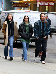"Jude Law sports a fuller hairline while filming with costars Raffey Cassidy and Stacy Martin on the set of ""Vox Lux"" in Midtown Manhattan. Raffey Cassidy will be playing a younger version of Natalie Portman who is set to play the lead role in the film. 12 Feb 2018 Pictured: Jude Law, Raffey Cassidy, Stacy Martin. Photo credit: LRNYC / MEGA TheMegaAgency.com +1 888 505 6342"