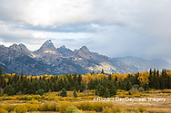67545-09620 Fall color and Grand Teton Mountain Range from Blacktail Falls Overlook, Grand Teton National Park, WY