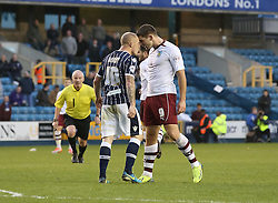 Burnley's Sam Vokes and Millwall's Nicky Bailey go head to head - Photo mandatory by-line: Robin White/JMP - Tel: Mobile: 07966 386802 02/11/2013 - SPORT - FOOTBALL - The Den - Millwall - Millwall v Burnley - Sky Bet Championship
