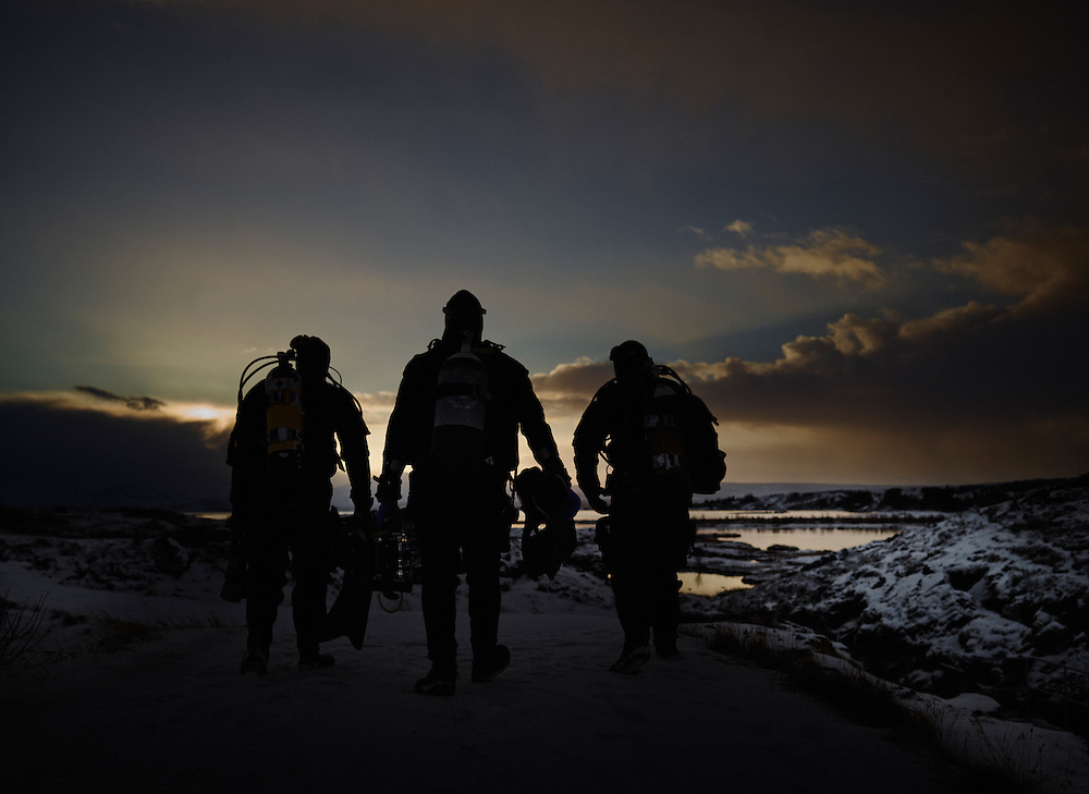 Three cold water Divers heading out for a dive in Iceland shot as a Environmental Portraiture on a PhaseOne IQ180