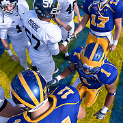 Georgia Southern and Delaware before game. No. 3 Delaware leads Georgia Southern 10-0 on a cold Saturday afternoon at Delaware stadium in Newark Delaware..