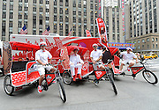 Good Humor kicks off its Summer of Joy campaign, Tuesday, June 24, 2014, with the unveiling of the Good Humor Joy Fleet, which will travel the neighborhoods of New York this summer offering free rides and fun surprises.  (Diane Bondareff/Invision for Good Humor/AP Images)