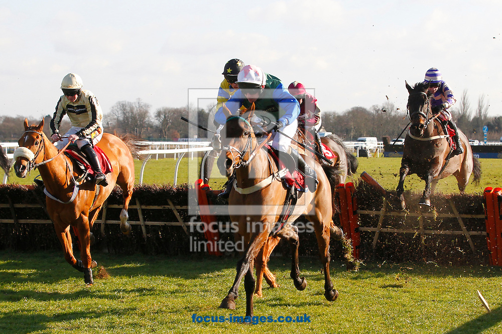 Ryan Hatch riding Kayf Blanco winning the Racing UK Anywhere Conditional Jockeys' Handicap Hurdle at Kempton Park, Sunbury<br /> Picture by John Hoy/Focus Images Ltd +44 7516660607<br /> 06/02/2015