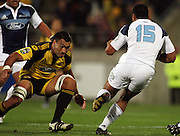 Hurricanes flanker Victor Vito lines up a tackle on Rudi Wulf.<br /> Super 14 rugby union match - Hurricanes v Blues, Westpac Stadium, Wellington, New Zealand. Friday 1 May 2009. Photo: Dave Lintott/PHOTOSPORT