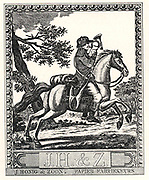 1799 woodcut showing a mounted postman blowing a trumpet as he delivers letters. Dutch