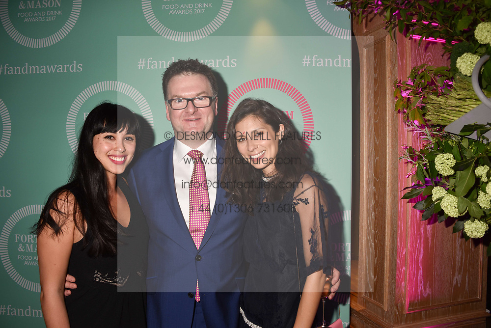 Melissa Hemsley, Ewan Venters and Jasmine Hemsley at the 2017 Fortnum &amp; Mason Food &amp; Drink Awards held at Fortnum &amp; Mason, Piccadilly London England. 11 May 2017.<br /> Photo by Dominic O'Neill/SilverHub 0203 174 1069 sales@silverhubmedia.com