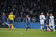 Marco Verratti (psg) received a yellow card from referee, Edinson Roberto Paulo Cavani Gomez (psg) (El Matador) (El Botija) (Florestan), Kylian Mbappe (PSG), Raphael Varane (Real Madrid Club de Futbol), Thiago Motta Santon Olivares (psg) during the UEFA Champions League, round of 16, 2nd leg football match between Paris Saint-Germain FC and Real Madrid CF on March 6, 2018 at Parc des Princes stadium in Paris, France - Photo Stephane Allaman / ProSportsImages / DPPI