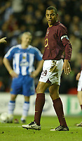 Photo: Aidan Ellis.<br /> Wigan Athletic v Arsenal. Carling Cup. Semi Final, 1st Leg.<br /> 10/01/2006.<br /> Arsenal's Gilberto looks disgusted after losing 1-0