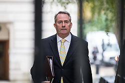 © Licensed to London News Pictures. 25/10/2016. London, UK. Secretary of State for International Trade Liam Fox arrives at Downing Street to attend the government sub-committee on airports, which is expected to rule today on the expansion of either Gatwick of Heathrow airport. Photo credit: Rob Pinney/LNP