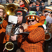 Members of The Princeton University Band  perform during the Yale Vs Princeton, Ivy League College Football match at Yale Bowl, New Haven, Connecticut, USA. 15th November 2014. Photo Tim Clayton