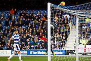 Queens Park Rangers goalkeeper Joe Lumley (13) tips over during the EFL Sky Bet Championship match between Queens Park Rangers and Leeds United at the Loftus Road Stadium, London, England on 26 February 2019.