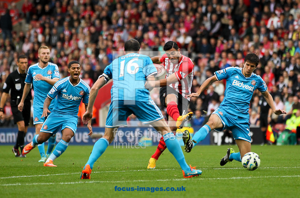 Graziano Pell&egrave; (2nd right) of Southampton takes a shot at goal during the Barclays Premier League match at the St Mary's Stadium, Southampton<br /> Picture by Tom Smith/Focus Images Ltd 07545141164<br /> 18/10/2014